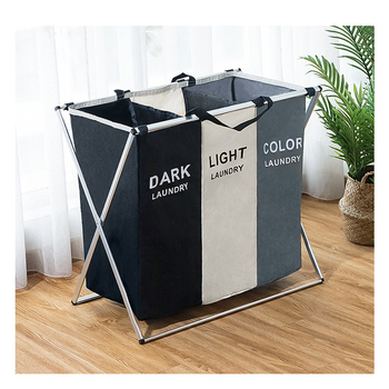 Dirty clothes Storage basket Three grid Organizer basket collapsible large laundry hamper waterproof home laundry basket цена 2017