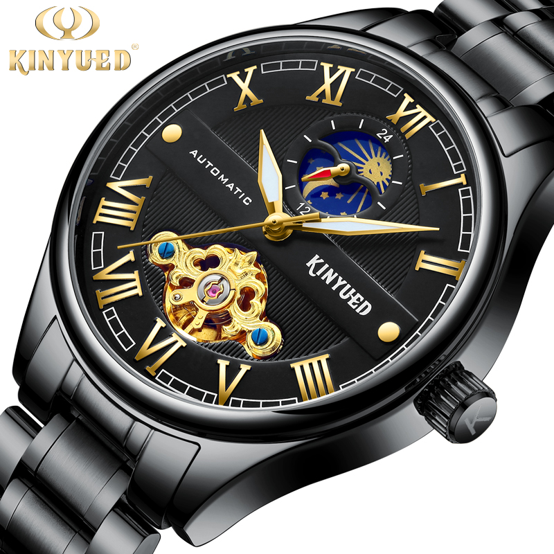KINYUED Steampunk Luminous Hands Golden Skull Black Stainless Steel Tourbillon Clock Mens Automatic Watches Top Brand LuxuryKINYUED Steampunk Luminous Hands Golden Skull Black Stainless Steel Tourbillon Clock Mens Automatic Watches Top Brand Luxury