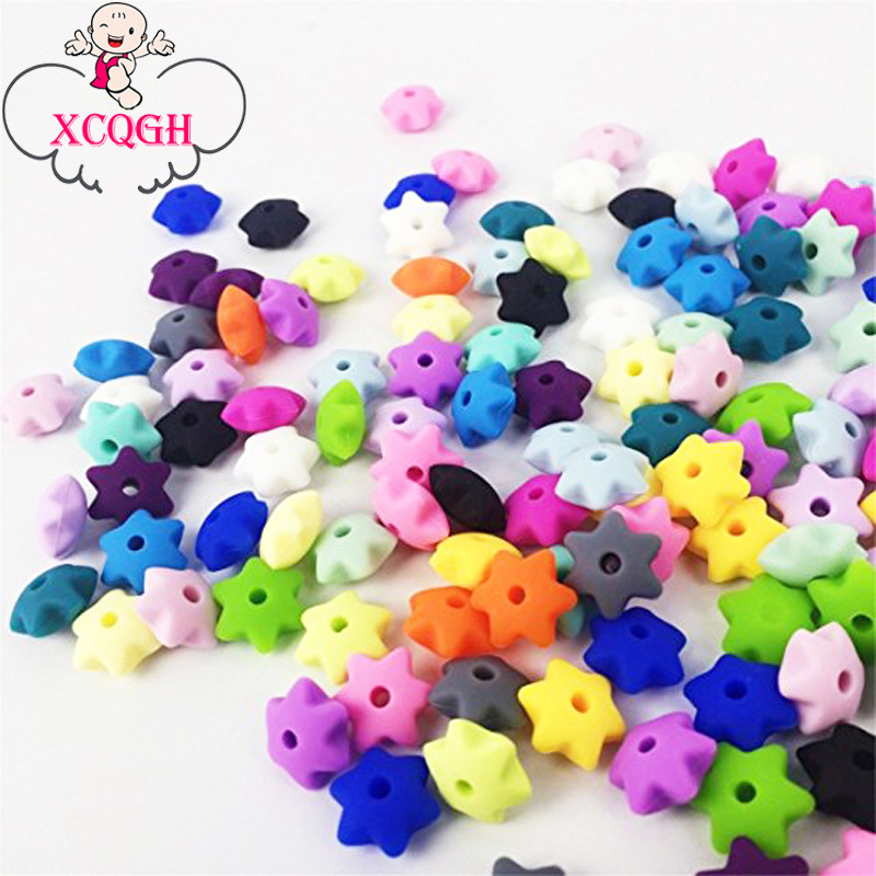 XCQGH 10Pcs Silicone Teething Beads,Star Silicone Teether,Food Grade BPA free FDA Approved,Chew Jewelry Silicone Bead