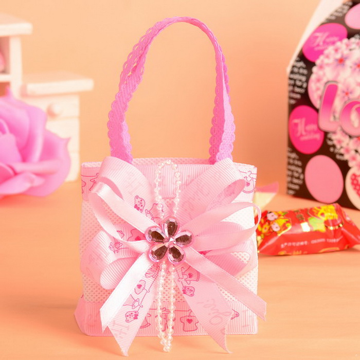 baby shower baby bottle On the Round Non Woven Fabric Candy Favor Gift Bag/Bags Pink and Blue 24pcs ...
