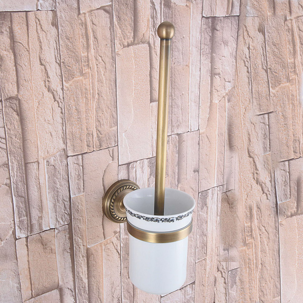Wall Mounted Antique Vintage Brass Toilet Brush Holder with Ceramic Cup