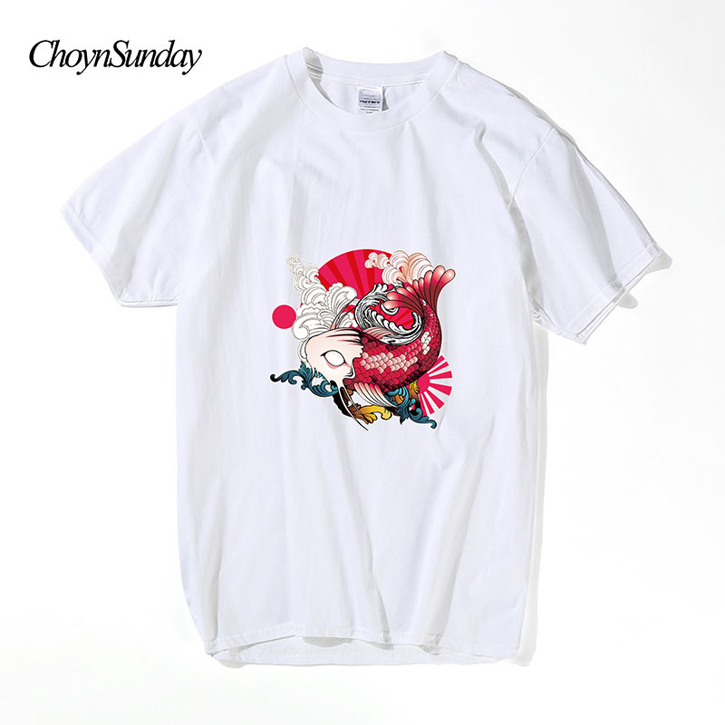 ChoynSunday Big Fish T-shirts Creative Man Cotton Short Sleeve Summer Style Tee shirts New Casual Funny Geeks T shirts Boys