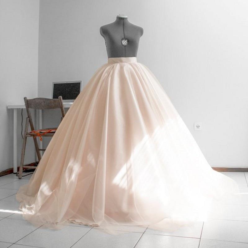Formal Beige Puffy Bridal Tulle Skirts To Wedding Floor Length Zipper Custom Made Long Tutu Skirt Women Falda Saias 2019