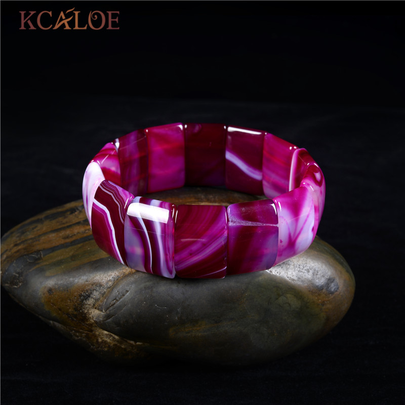 KCALOE Charms Strand Pink Bracelets & Bangles For Women Pink Semi Precious Stone Jewelry Stretch Boho Bracelet Brazalete Mujer