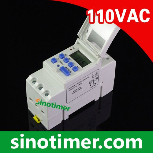 SINOTIMER Din Rail Mount Programmable Digital Electronic Timer Switch Relay Time Control 110V 12V AC 16A new digital lcd programmable timer 12v dc din rail time relay switch power drop ship