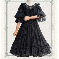 Harajuku Mori Fille Lolita Robe Femmes Vêtements Solide Dentelle Broderie Antique Arc Grande Balançoire Femelle Belle Princesse Robes V103