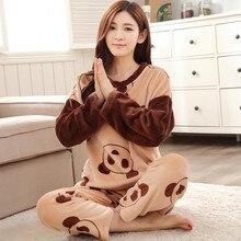 Лидер продаж 2017 осень-зима Для женщин S пижамный комплект с длинным рукавом Для женщин молодых подарочные пижамы теплая Тонкая фланель пижамы комплект одежды для сна