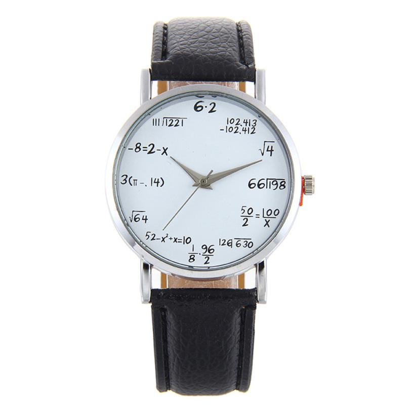 Casual Fashion Womens Clock Popular Math Formula Dial Leather Band Analog Quartz Wrist Watch Womens Clock Reloj Mujer Aug09 super star korea stylish man casual watch leather strap big dial fashion quartz wrist watch popular unique pattern couple clock