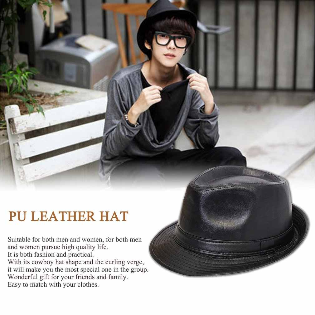 a0f071d3f64 Detail Feedback Questions about Men Women Classic PU Leather Fedora ...