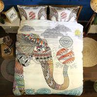 bohemian elephant printed duvet/comforter cover room decor 3pcs bedding set queen king size bed linens indian floral coverlet