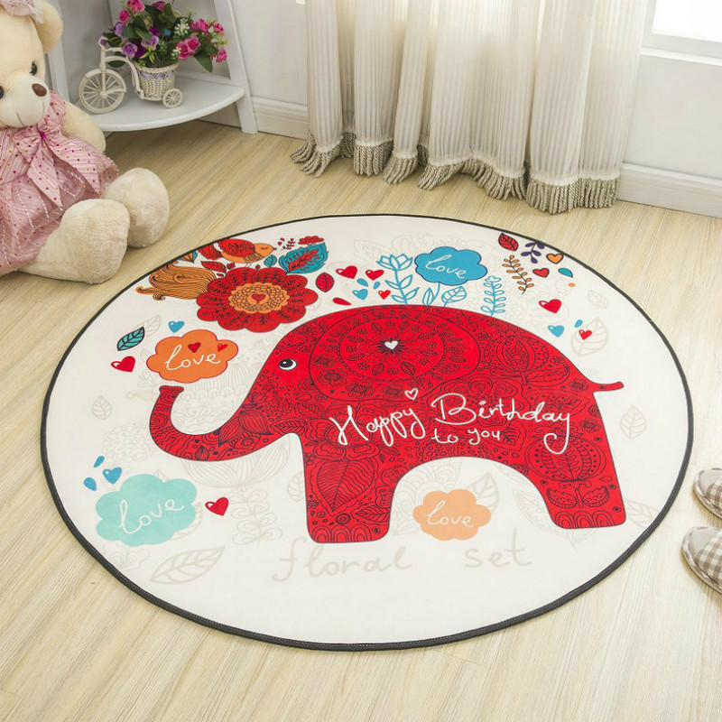 Round Cartoon Style Kids Carpets Anti-Skid Rugs For Bedroom/Bathroom Competer Chair Mats Cute Animals Rugs