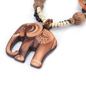 Boho Ethnic Jewelry Long Hand Made Bead Elephant Pendant Long Wood Necklace For Women Bijoux Gifts Valentine's Day present