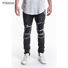 MORUANCLE Brand Designer Man Ripped Biker Jeans Pants Slim Fit Distressed Motorcycle Denim Joggers For Male Pleated Trousers