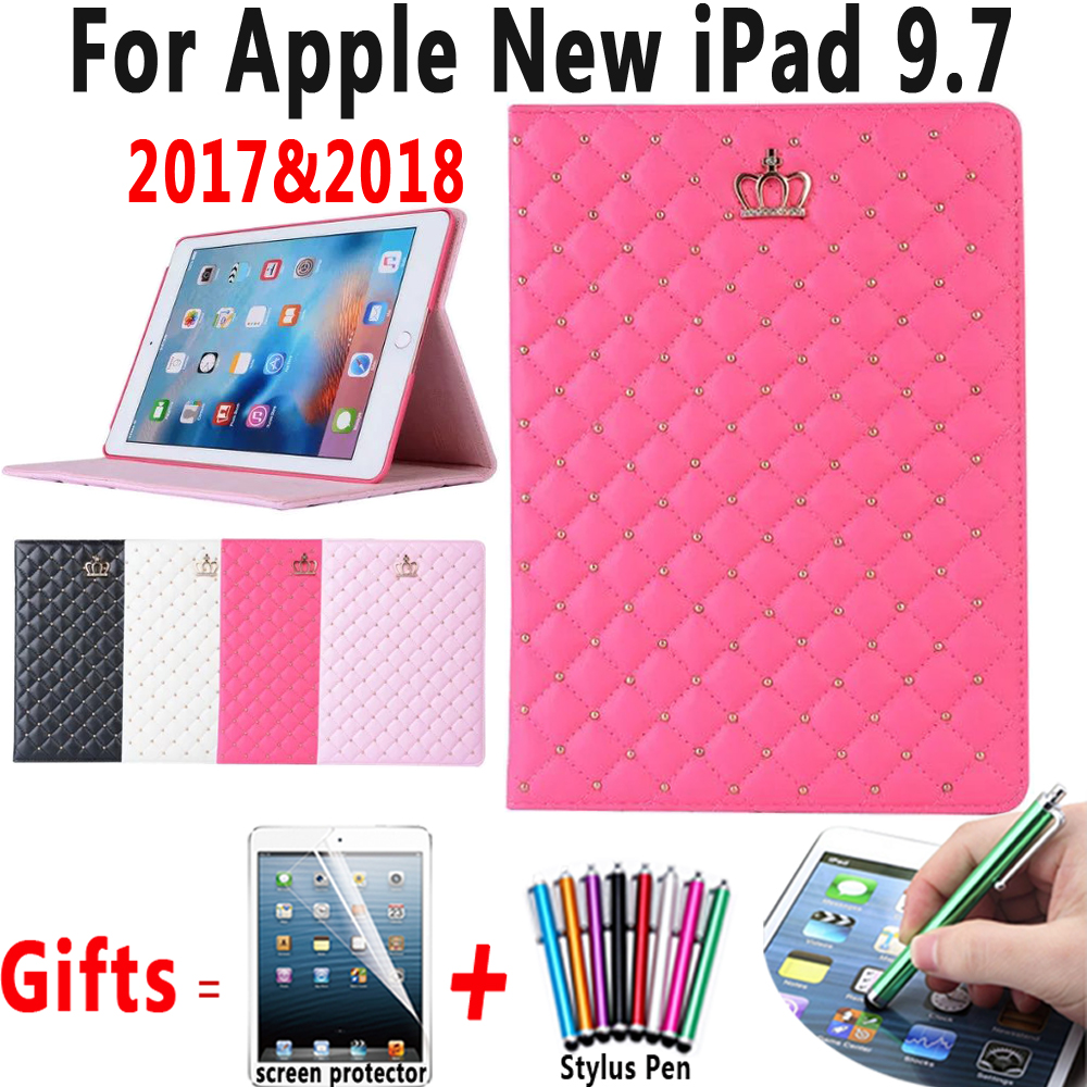 for Apple New iPad 9.7 2018 A1893 Case Luxury Crown Leather Sleep Wakeup Cover for iPad 9.7 2017 A1822 A1823 Coque Capa Funda