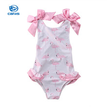 91fd6a9de6 Baby Swimwear Girls Clothes Toddler Girls Flamingos Printed Summer Children  Girls Bowknot Clothing Holiday Beachwear Swimsuit