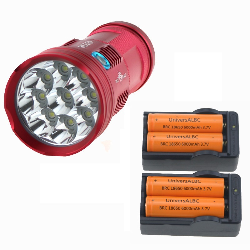 Waterproof skyray 18000 lumens LED Flashlight 9xCREE XM-L T6 LED Torch Bike Lamp Light linterna + 4x 18650 battery+2x Chargers 10t6 18650 battery 20000 lumens tactical flashlight skyray 10x cree xm l t6 3 mode led linternas torch lamp bike light