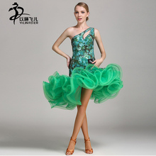 Ladies Latin ballroom competition dance dress sexy sleeveless latin tango standard dress
