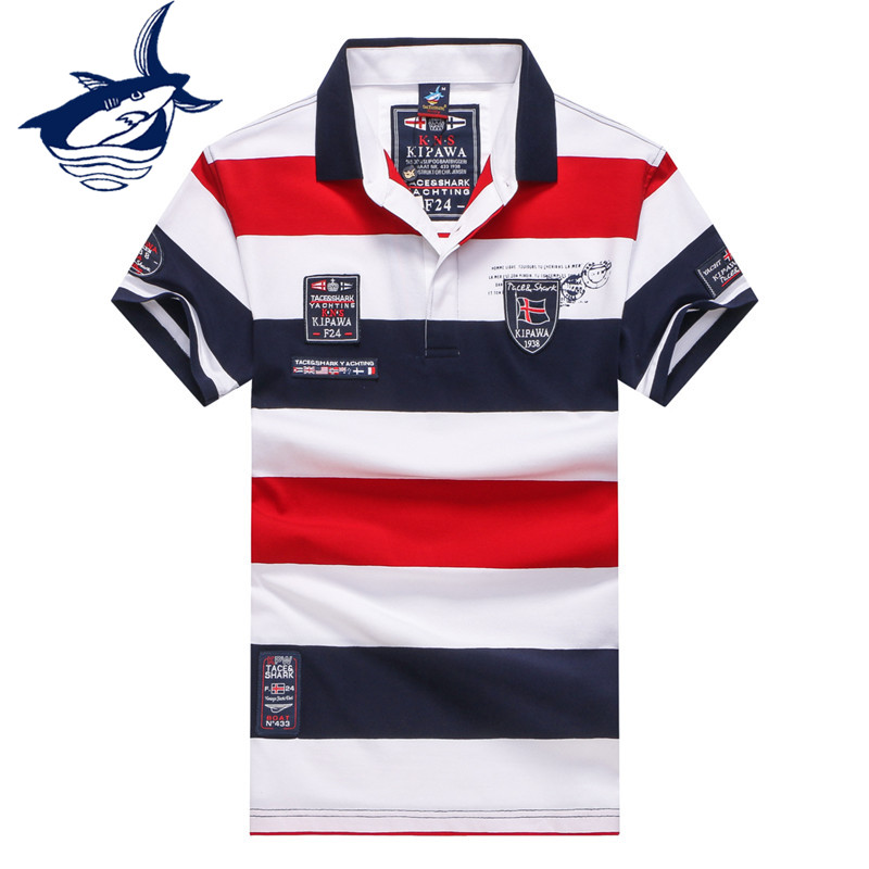 Men Clothes 2018 Famous Brand Tace & Shark Polo Shirt Men Summer Tops Cotton Short Sleeve Striped Clasic & Business Homme