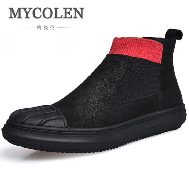 MYCOLEN New Men's Winter Boots Men Genuine Leather British Style Retro Martin Boots Slip On Man Autumn Shoes Boots Homme martin new winter with thick british style short canister female fall side zipper boots