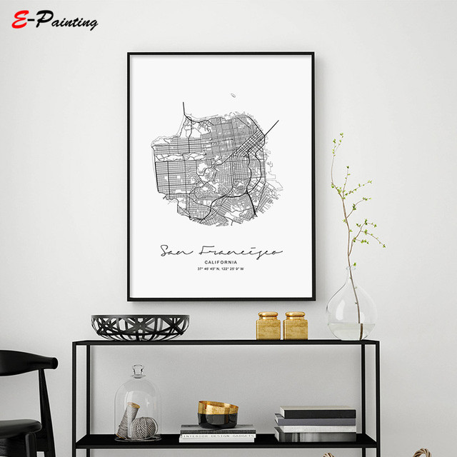 Unframed Moder Nordic Style Circle Map San Francisco US City California Living Room Home Decor Canvas Painting