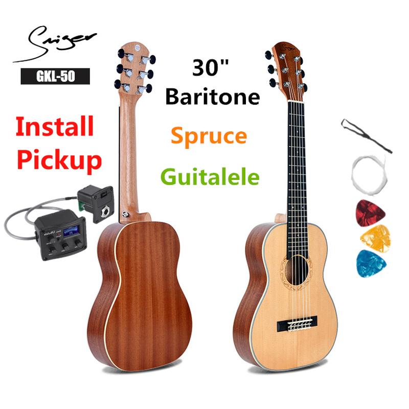Guitalele Guilele 30 Inches Spruce Guitalele Mini Electric Baritone Acoustic Guitars 6 Strings Ukelele Pickup Travel Guitar image