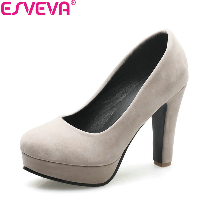ESVEVA 2018 Women Pumps Spring and Autumn Shoes Super Square High Heels Platform 2.5cm Round Toe Shoes for Women Size 34-43 siketu 2017 free shipping spring and autumn women shoes sex high heels shoes wedding shoes sweet lovely pumps g126