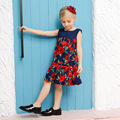 Girls Princess Dress European and American Style Baby Rose Flower Girls Party Dresses 2016 New Summer Girls Evening Dress