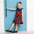Meninas Vestido de Princesa Estilo Europeu e Americano Do Bebê Subiu Flor Meninas vestido de Festa Vestidos de 2016 Meninas Novas do Verão Vestido de Noite