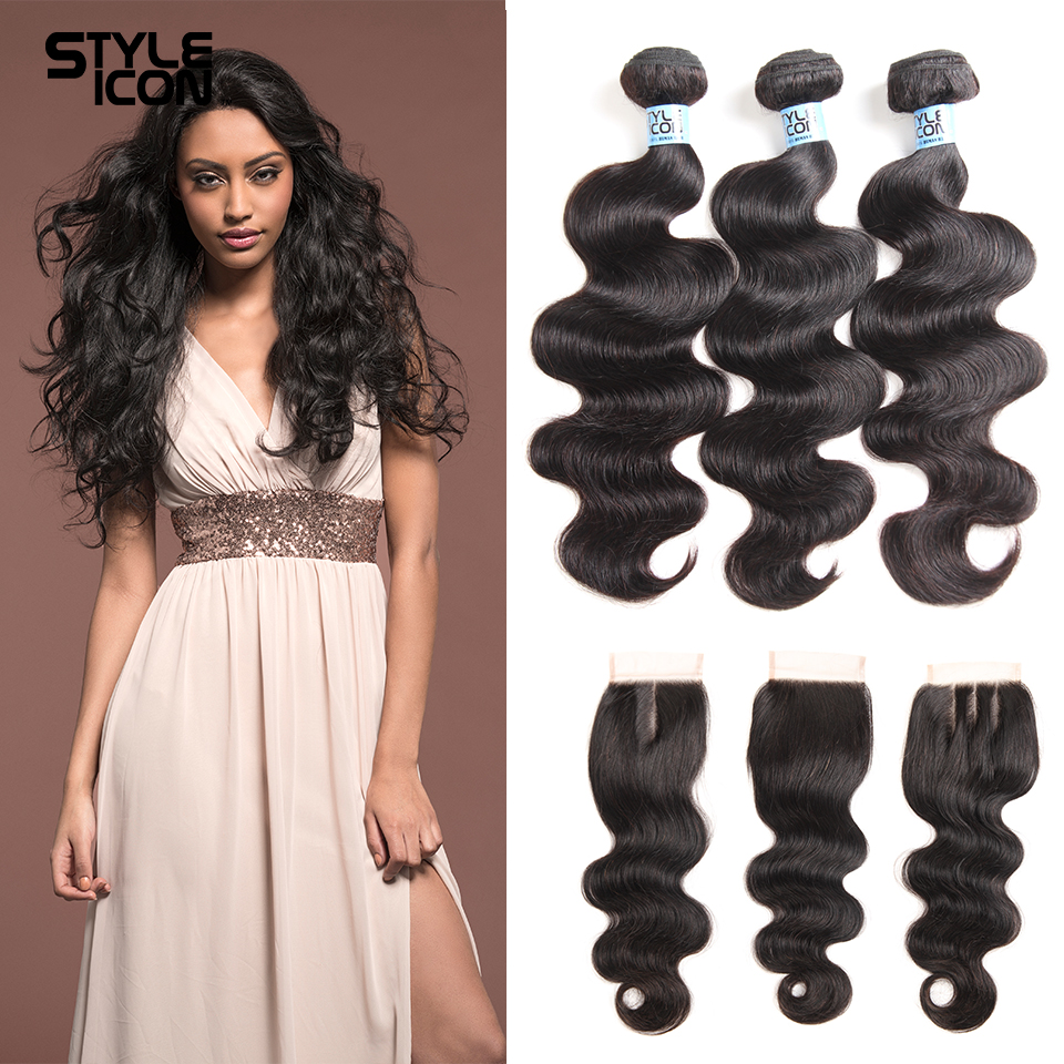 Styleicon 2/3 Bundles Brazilian Body Wave Bundles With Closure 4*4 Lace Closure 4pcs/lot Non Remy Human Hair Extension