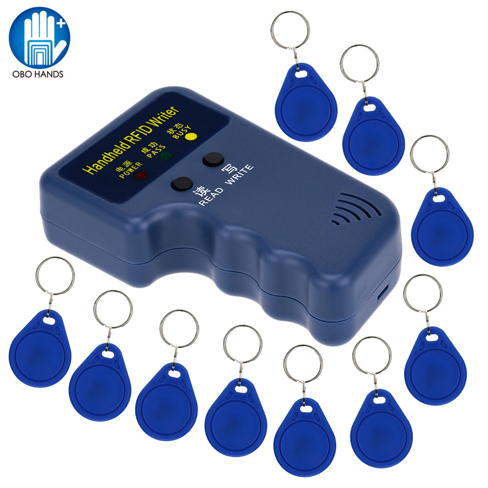 Handheld 125KHz RFID ID Card Writer/Copier Duplicator Reader + 10pcs Writable EM4305 T5577 Keyfobs Tags Cards Hot Sale handheld 125khz rfid id card duplicator programmer reader writer copier duplicator 6 pcs cards 6 pcstags kit
