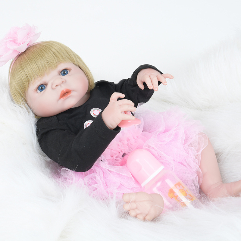 22 inch Lifelike Baby Dolls Toys Silicone Full Body Bebe Reborn Lace Floral New Born American Girl Real Baby Fashion Dolls 55cm new lifelike soft cloth full body painting silicone born baby dolls girl realistic solid original reborn dolls for sale shop