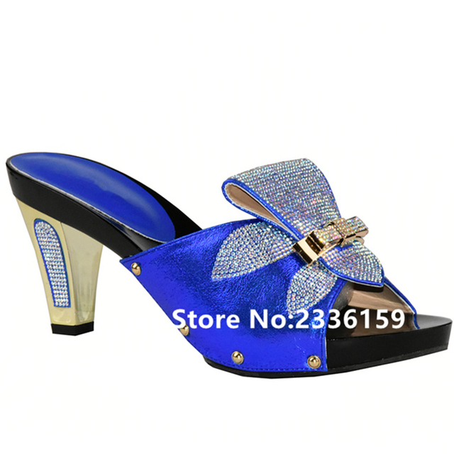 Neueste Blau Farbe Hochzeit Schuhe Frau Offene Spitze Damen Sandalen