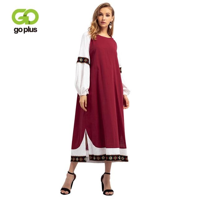 GOPLUS Muslim Abaya Embroidery Long Dress Women Patchwork O Neck Lantern Sleeve Split Gown Maxi Dress Middle East Vestido Female
