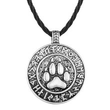 QIAMNI Punk Slavic Runes Bear Print Paw Round Pendant Necklace Men Amulet Nordic Viking Jewelry Friendship Party Birthday Gift(China)