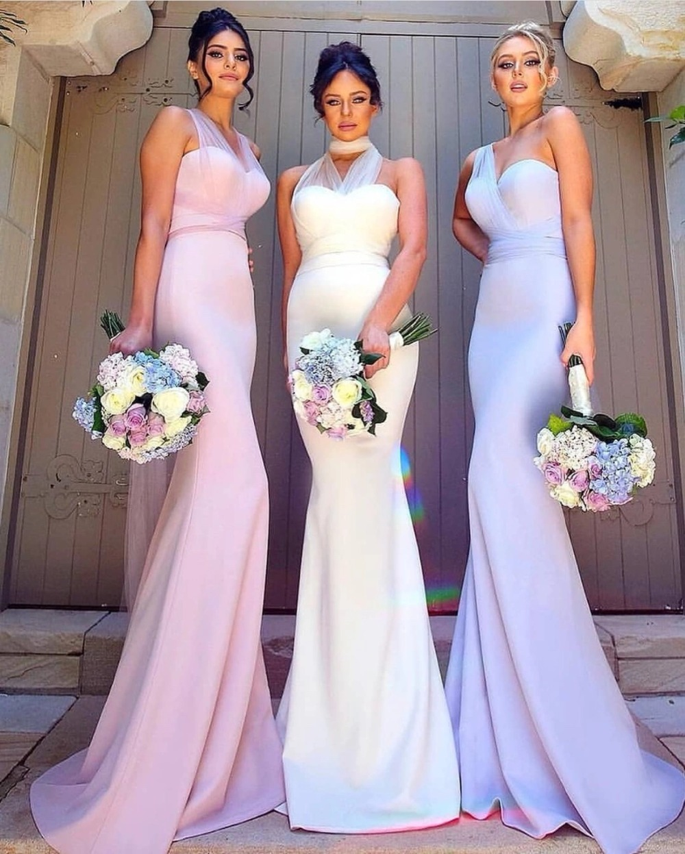 Mermaid Style Wedding Gowns: 2019 New Pink Bridesmaid Dress Long Gowns Mixed Style