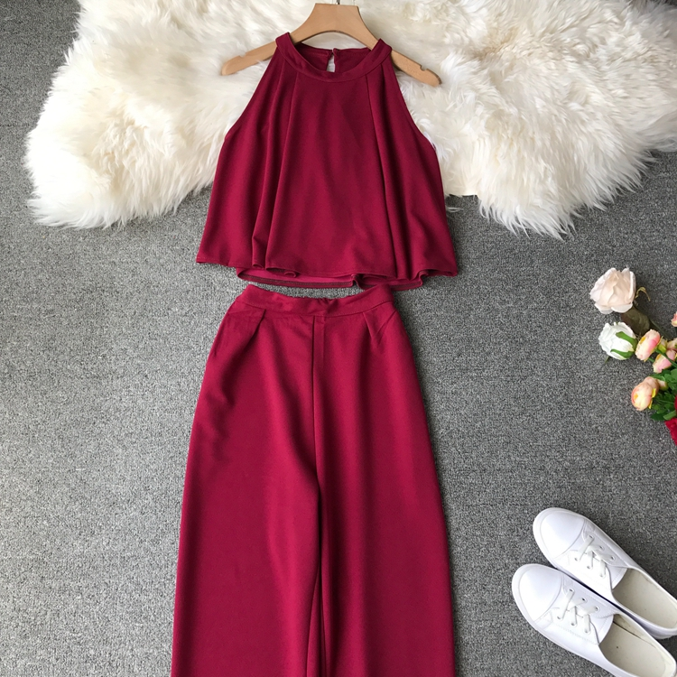 HTB1MPMrVr2pK1RjSZFsq6yNlXXam - two piece set women fashion sexy short top and long pants casual sleeveless Elastic high waist female summer festival clothing