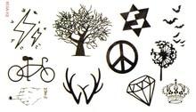 (Min Order $0.5) Waterproof Temporary Tattoo Tatoo Henna Fake Flash Tattoo Stickers Taty Tatto Bicycle Tree SYA039