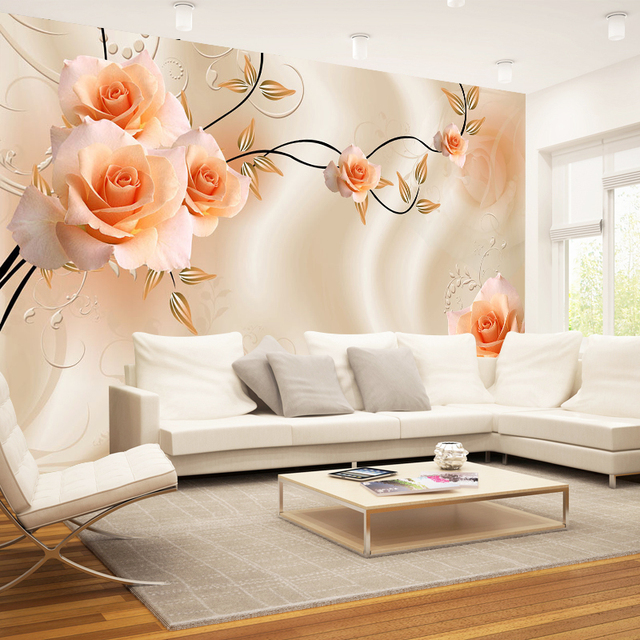 Charmant Custom Size 3D Silk Cloth Flowers Photo Wallpapers Floral Rose Mural For TV  Sofa Backdrop Living