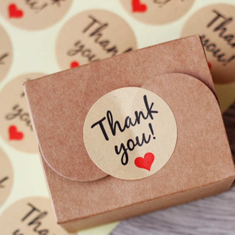 10pcs Thank You Kraft Paper Gift Tags Diy Seal Paste Stickers Wedding Favors Label Party Supplies