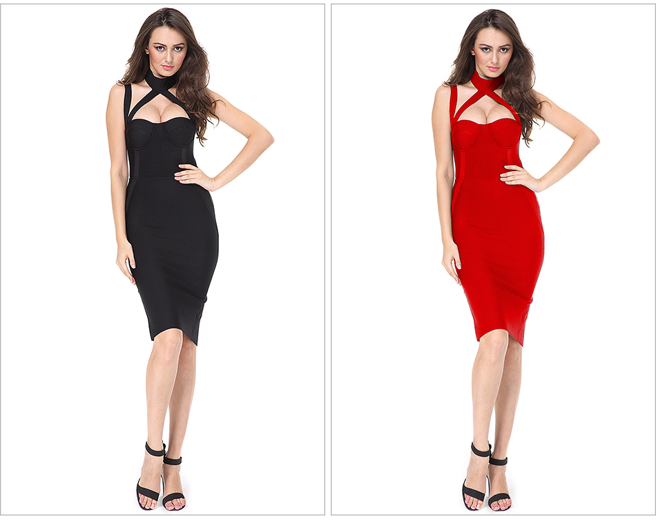 Elegant White Halter Straps Backless Hollow Out Party Bandage Dress