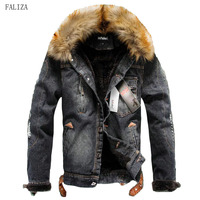 FALIZA Winter Denim Jacket With Fur Collar Retro Ripped Fleece Jeans Jacket Male Bomber Jacket With