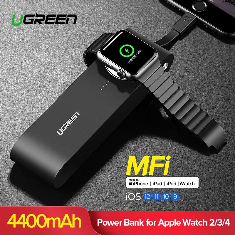 Ugreen inalámbrico cargador banco de potencia 4400 mAh para Apple Watch/4/3/2 iPhone X 8 Batería Externa cargador para teléfonos móviles Poverbank