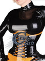 Сумасшедший club_Latex Корсеты Женской Одежды Двухцветный латекс корсет с вязанием на передней и задней талии фетиш корсеты латекс талии