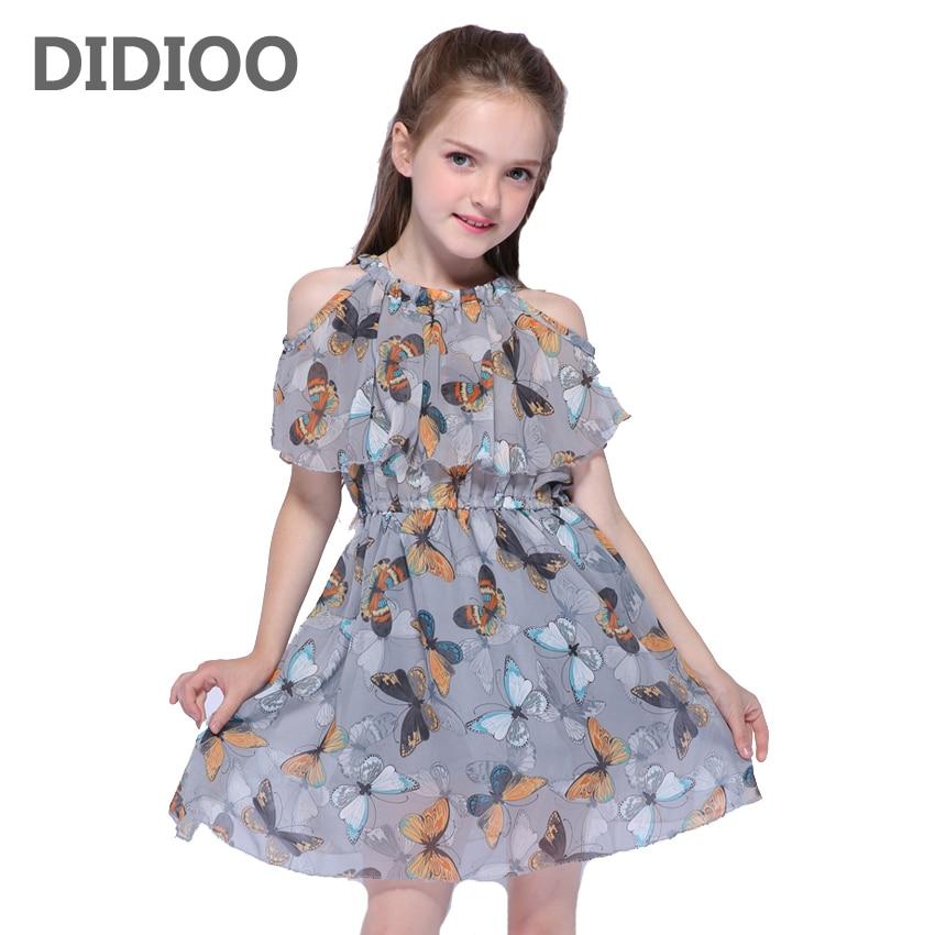 Robes d'été en mousseline pour filles | Épaules dénudées, motif papillon, pour bébés, vêtements imprimés décontracté és, pour enfants de 2-8-10-12 ans