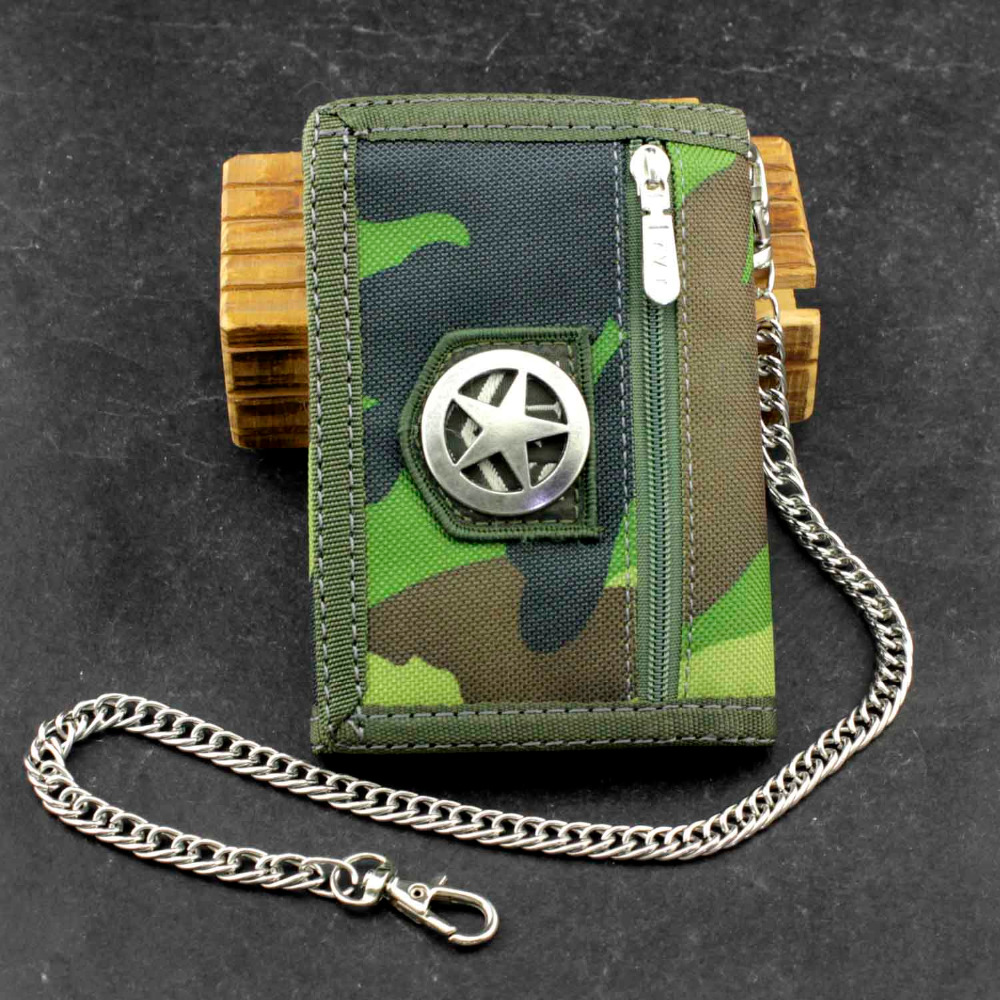 Cavans Camouflage Tri-fold card//Money Wallet With Safe Chain For Mens//Boys