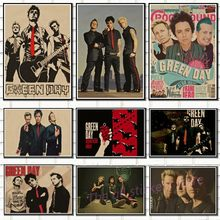 Vintage poster. green day rock band music Guitar Matte Kraft Paper Antique Poster Wall Sticker Home Decora/6019(China)