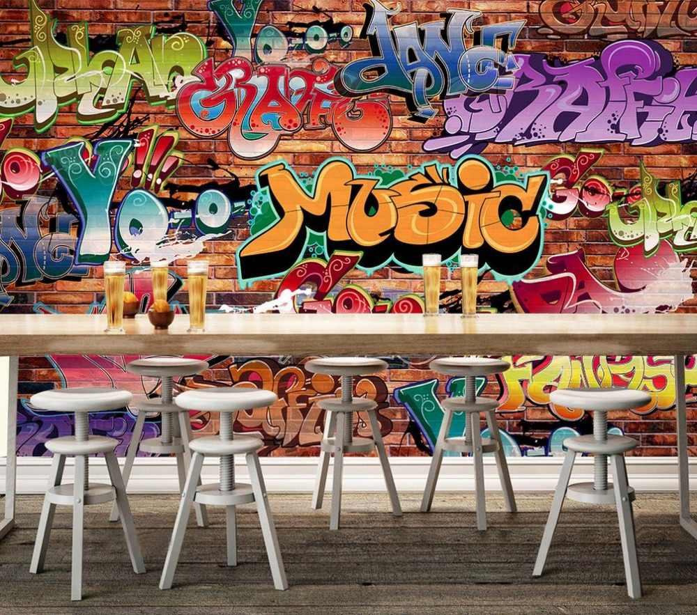 Custom 3d Wallpaper Brick Wall Graffiti Culture Background Painting Living 3d Wallpaper 3d Stereoscopic Wallpaper