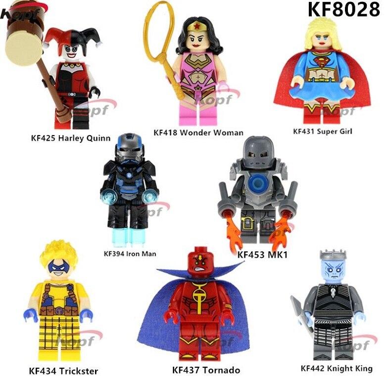 KF8028 Super Heroes строительные блоки рыцарь King Трикстер Tornoda Wonder Woman MK1 Железный человек Кирпичи Модель для детей игрушки подарок