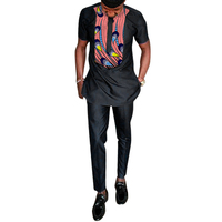 Africa Print Man T Shirt Dashiki Fashion Pant Sets Black Tops+Trousers 2 Pieces Customized Men's Outfit For African Gatherings