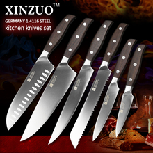 XINZUO ZHI series 6pcs kitchen knife set Germany 1.4116 steel chef knife cleaver super sharp bread utility knife free shipping